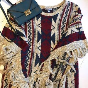 Multicolor Fringe Poncho Sweater